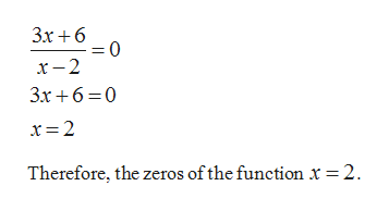 Зх +6 0 = х — 2 3x6 0 x 2 Therefore, the zeros of the function x = 2
