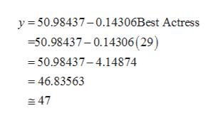y50.98437-0.14306Best Actress -50.98437-0.14306 ( 29) -50.98437-4.14874 = 46.83563 47