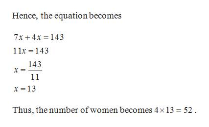 Hence, the equation becomes 7x4x 143 11x 143 143 11 x = 13 Thus, the number ofwomen becomes 4x 13 52