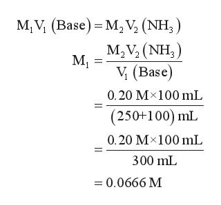 M, V (Base) M2 V, (NH,) M2V2 (NH3) М, V (Base) 0.20 M100 mL (250+100) mL 0.20 M 100 mL 300 mL =0.0666 M
