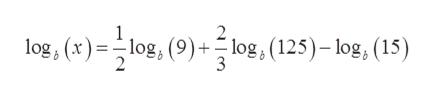 log, (x)log, (9)+log, (125)-log, (15) 3