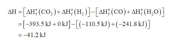 -ΔΗ (CO, ) + ΔΗ; (Η. )] - [ΔΗ; (CO) + ΔΗ: (H0) ] -393.5 kJ +0kJ]-[(-110.5 kl)+(-241.8 kl)] ΔΗ =-41.2 kJ