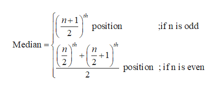 th 1 position ifn is odd 2 Median th th +1 + positi on ifn is even 2