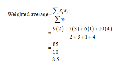 Wei ghted average=2+W Σν 9(2)+7(3)+6(1)+10(4) 2 31 85 10 =8.5