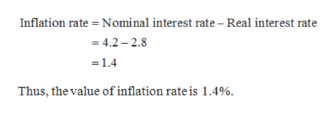 Inflation rate Nominal interest rate - Real interest rate = 4.2 2.8 =1.4 Thus, the value of inflation rate is 1.4%.