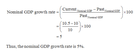Currentminal GDP - Pastominal GDPx100 Pastominal GDP Nominal GDP growth rate | N 10.5-10 x 100 10 Thus, the nominal GDP growth rate is 5%.
