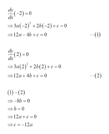 dy (-2) 0 dx 3a(-2)+2b(-2)+c =0 12a 4b+c o .1) dv -(2)= 0 dx 3a(2)+2b(2)+c= 0 12a 4b+c 0 (2) ()-(2) -8b 0 b0 12ac 0 c=-12a
