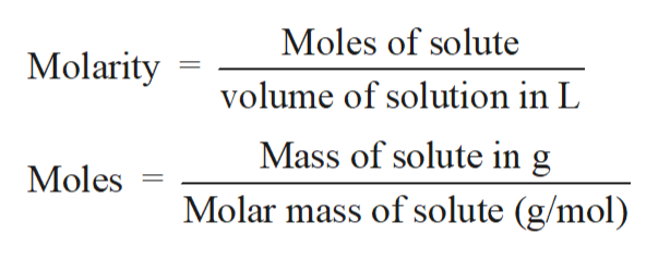 Moles of solute Molarity volume of solution in L Mass of solute in g Moles Molar mass of solute (g/mol)