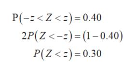 P(-Z <)0.40 2P(Z-)(1-0.40) P(Z<)0.30