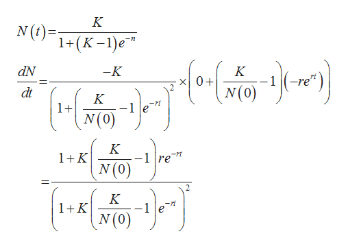 "K N(t) 1+(K -1)e dN -K K x0+ N(0) -re"" dt K -rt 1+ K -1 re"" N(0) 1K K 1K"