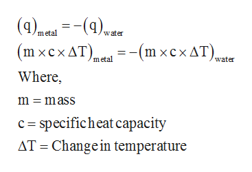 (4)aa()er (mxсxAT). - (m хсхдT).. Where metal water -(m xcx AT), metal water m = mass c specificheat capacity AT Change in temperature