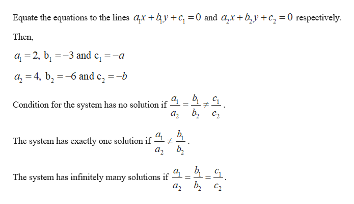 """Equate the equations to the lines ar by+c =0 and azx+b,y+c, = 0 respectively - Then, a 2, b3 and e, =-a 1 a24, b6 and c, =-b Condition for the system has no solution if # C2 The system has exactly one solution if The system has infinitely many solutions if """"1= 1-1"""