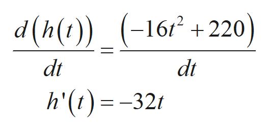 d(h(t)) (-16+220) dt dt h'(t)=-321