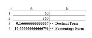 A 1 60 2 360 0.166666666666667<Decimal Form 16.6666666666667% << Percentage Form 3 4