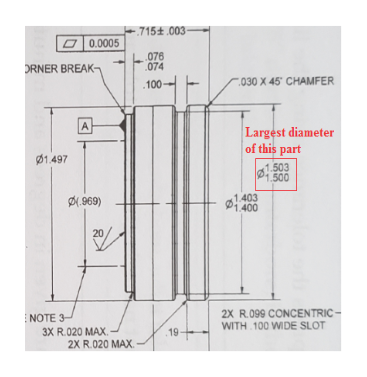 715t 003 0.0005 076 074 ORNER BREAK- 030 X 45 CHAMFER 100 A Largest diameter of this part 1.497 1.503 1.500 1.403 1.400 DM969) 20 2X R.099 CONCENTRIC- WITH 100 WIDE SLOT NOTE 3 3X R.020 MAX 2X R.020 MAX. 19