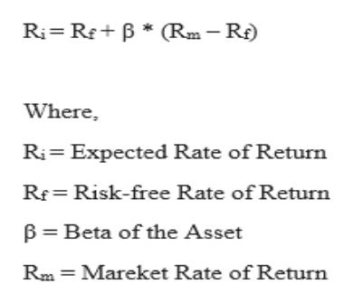 Ri RB Rm-R) Where Ri Expected Rate of Return Rf= Risk-free Rate of Return B Beta of the Asset Rm Mareket Rate of Return