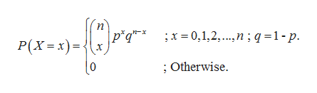 п p*q** ;x= 0,1,2,....n; q =1-p P(X=x)= ;Otherwise.