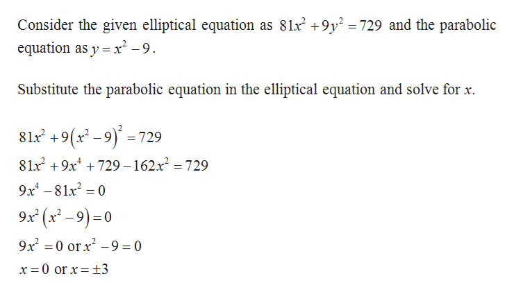 Consider the given elliptical equation as 81x2 +9y2 =729 and the parabolic equation as y x-9 Substitute the parabolic equation in the elliptical equation and solve for x 81 +9(x-9)729 8lx2 9x729 -162x2 = 729 9x481x2 0 9x (x-9)0 9x2 0 orx29 = 0 11 x = 0 or x = +3