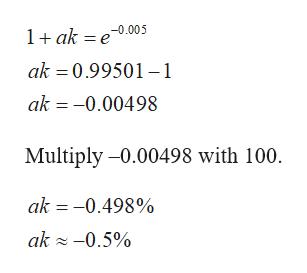 1ak e0.005 ak 0.99501-1 ak -0.00498 Multiply -0.00498 with 100 ak -0.498% ak -0.5%