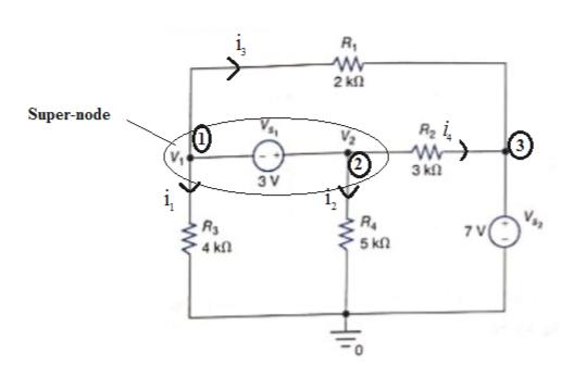 i, 2 kn Super-node w> 3 k 3 V R4 5 kn 4 kn