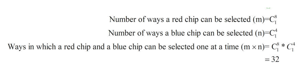 Number of ways a red chip can be selected (m) C can be selected (n) C Number of ways a blue chip Ways in which a red chip and a blue chip can be selected one at a time (m x n) C * C* = 32
