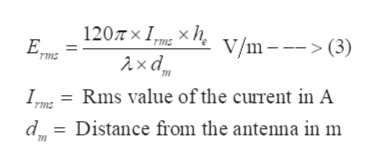 120Tx IXh E. V/m (3) ms ms Im = Rms value of the current in A dDistance from the antenna in m