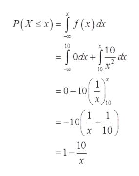 x P(Xx)=f(x)ds 10 10 x 10 1 0-10 10 1 =-10 x 10 10 =1-- x