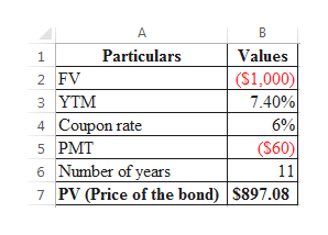 A Particulars Values ($1,000) 7.40% 6% ($60) 2 FV з ҮTM 4 Coupon rate 5 PMT 6 Number of years PV (Price of the bond) $897.08 11