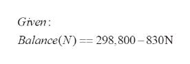 Given Balance(N)298,800-830N