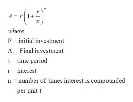 nt r A = P 1 where P initial investment A Final investment t time period r interest n number of times interest is compounded per unit t