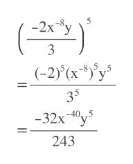 -2x 5 y 3 (-2)(x )y 35 -32x40y5 243