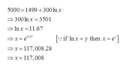 5000 1499 300 n x 300 In x 3501 Inx 11.67 if Inxy then r = e'] x=117,008.28 x 117,008