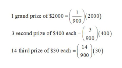1 1 grand prize of $2000   (2000) 900 3 (400) 900 3 second prize of $4 00 each 14 (30) 900 14 third prize of $30 each