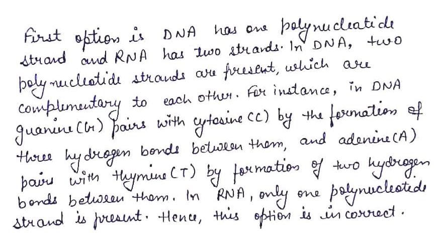 firit oftion i DNA balynucleatid dtand cd RNA has lwo stiavdi 1n DNA, two fresent, uslich aru has ons boly nucliotidi itraudi au Cowplumutary Juanine Cn) pains wim hy dregen bendi betwon thom, and adanine (A) paiu wit tym CT) by jxmatio bonds betwaauu thom. In RNA, ony atrand is eant Henu, this optio iu in cororeet to each otthu. Fr instance, in DNA grtouine ce) by theformatios ef three yrdbragen bolymuclestds eme