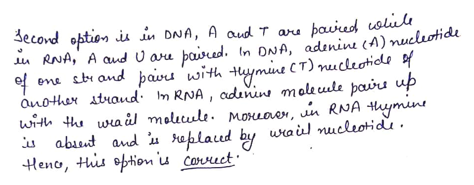3econd option iu in DNA, A aud T aru paured uolile In DNA, adenine (A) nucleotide ymne CT)nucleotidls f RNA, A aud U aru paired ene stand bavu with ст) anothar ataud m RNA, cdunins maleuule pairs up with thwaul maluule. Moxuoer, n RNA ymne abaeut and aplaud by wail nucleotidu Heno, ts option u Cauct