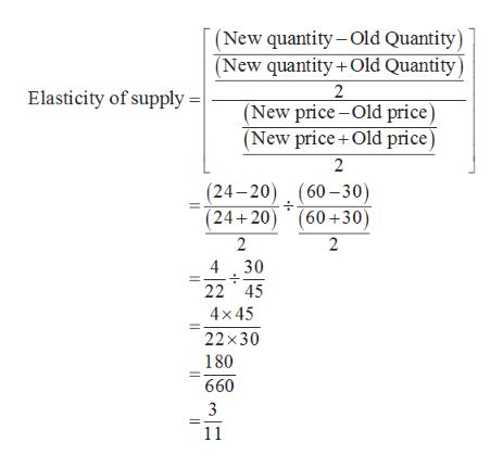 |(New quantity Old Quantity) (New quantity +Old Quantity) 2 (New price-Old price) (New price+Old price) 2 Elasticity of supply = (24-20) (60-30) (24+20 (60+30) 2 2 430 22 45 4x45 22x30 180 660 3 11