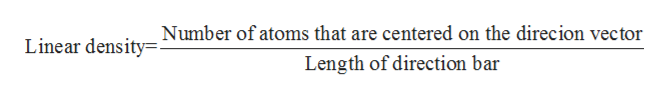 Linear density Number of atoms that are centered on the direcion vector Length of direction bar