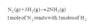 N, (g)+3H,(g)2NH, (g) 1mole of N, reactswith 3moles of H