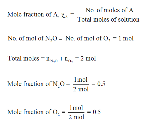 No. of moles of A Mole fraction of A, XA Total moles of solution No. of mol of N20 = No. of mol of O2 1 mol Total moles n0 +no, = 2 mol 1mol Mole fraction of N,O 0.5 2 mol 1mol Mole fraction of O2 0.5 11 2 mol
