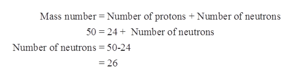 Mass number Number of protons + Number of neutrons 50 24Number ofneutrons Number of neutrons = 50-24 =26