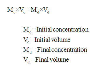 MXVM M-Initial concentration V-Initial volume M4 Final concentration VFinal volume