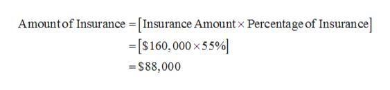 Amountof Insurance = [Insurance Amount x Percentage of Insurance =[S160,000 x55% $88,000