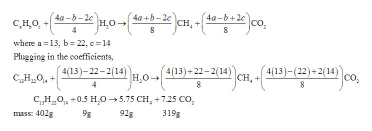 4a+b-2c Cн, 4а-Ь+2с 4а -b-2с С, Но, + 4 со, НО- 8 8 where a 13, b 22, c = 14 Plugging in the coefficients, 4(13)-(22)+2(14) 4(13)+22-2(14) Н.о 4(13)-22-2(14) |сн, со, 4 8 8 CH, 0.5 HO-5.75 CH +7.25 Co 9g 92g mass: 402g 319g