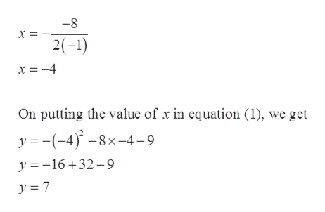 -8 x 2(-1) x = -4 On putting the value of x in equation (1), we get y (-4)8x-4-9 y 16+32-9 y = 7