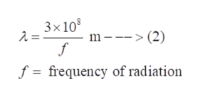 3x10 m - (2) 2 = f f = frequency of radiation