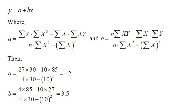 y a+bx Where, ΣΥΣΧΣΧ.Σχ. .Σχ-(Σχ)' ηΣ -ΣΧ.Στ and b а — a n-Σχ-Σ ) Then, 27x30-10x85 -2 4x30-(10) 4x85-10x27 =3.5 4x30-(10)