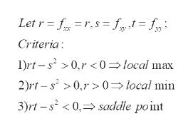 Let r fr,s ft= f Criteria 1Drt-s20,r<0local max 2)rt-s20,r> 0=> local min 3)rt -s20, saddle point
