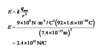 "E-k 9x10 N-m/c'(92x1.6x10"" c) (7.4x101m) 2.4x102 NC E="