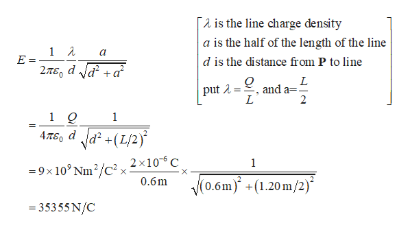 is the line charge density a is the half of the length of the line E d is the distance from P to line 2TEO dda L put ,and a=1 2 L 1 Q 1 4,7TE dd +(L/2) =9x103 Nm2/c2 v 2 x10C 0.6m 1 X V(0.6m) +(1.20 m/2) - 35355 N/C
