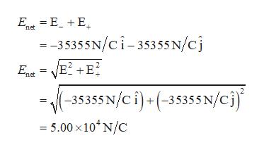 E E_E net = -35355N/ci-35355 N/cj E2 E + net (-35355N/ci)+(-35355N/ci) 5.00 x 104 N/C